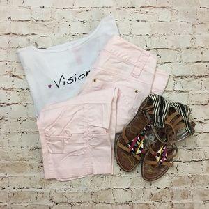 Cache | baby pink Capri cargo pants work casual